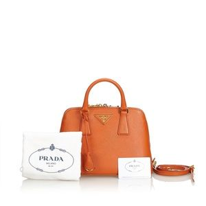 Prada Saffiano Lux Promenade Handbag Orange